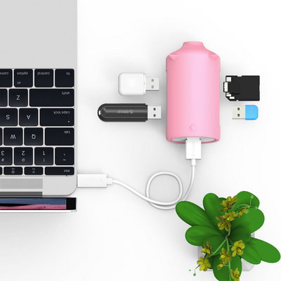 USB hub 3-port USB 3.0, card reader, OTG, ORICO Little pig, PINK