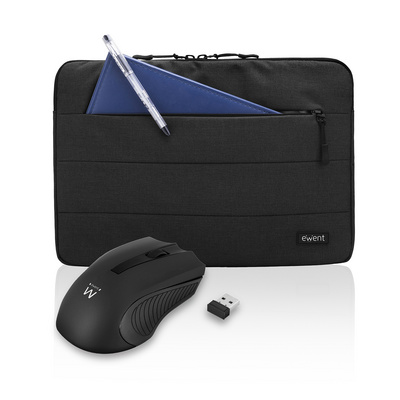 Notebook sleeve and wireless mouse set Ewent, black