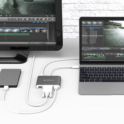 Adapter USB-C to 1xUSB-A, 1xUSB-C PD, 1xHDMI, 1xVGA, ALU grey, ORICO RCHV