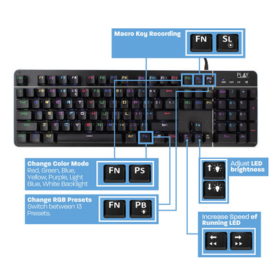 Keyboard Ewent PLAY Mechanical RGB Gaming, Illuminated RGB, USB, US SLO g.