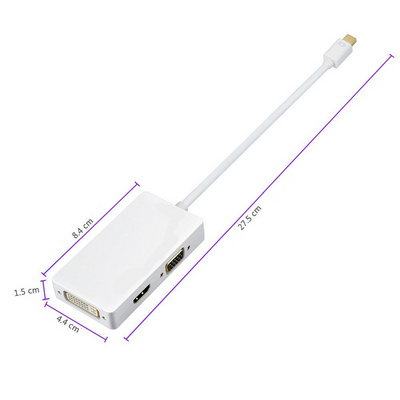 Adapter cable Mini DisplayPort 1.2 (Thunderbolt) to HDMI/DVI/VGA, Ewent