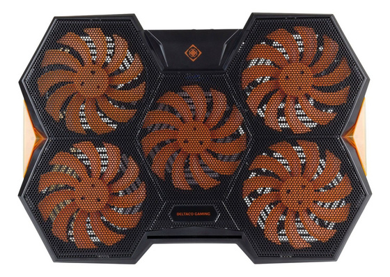 "Stand Laptop cooling pad 17.3"", 5 fans, 2x USB, Deltaco GAM-072"