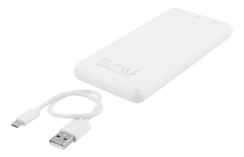 PowerBank Deltaco, 10.000 mAh, 2x USB, white, PB-1071