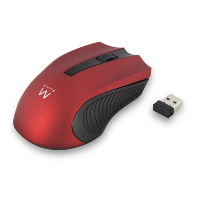 Mouse Ewent Wireless Optical, 1000dpi, red, USB