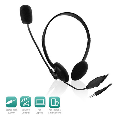 Headset Ewent, mobile/tablet, volume control, mic, EW3567