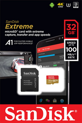 Spominska kartica micro SDHC 32GB C10 U3 V30 A1 UHS-I, adapter, SanDisk Extreme 100 MB/s