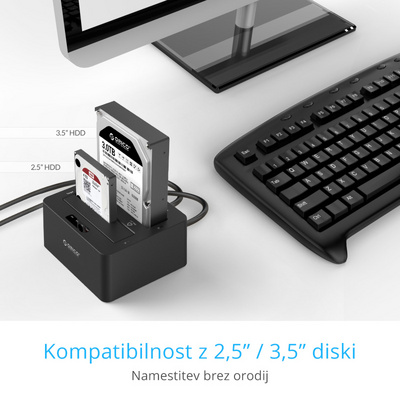 Postaja za HDD/SSD, 2x 2.5/3.5, SATA v USB 3.0, One-Key-Backup, ORICO 6629US3