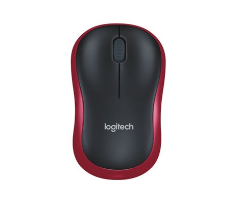 Miška Logitech M185 Wireless, nano, optična, rdeča