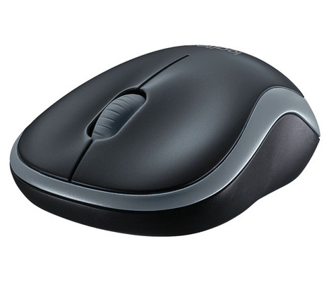 Miška Logitech M185 Wireless, nano, optična, siva