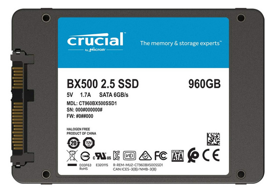 "SSD 960GB 2.5"" SATA3 3D TLC, 7mm, CRUCIAL BX500"