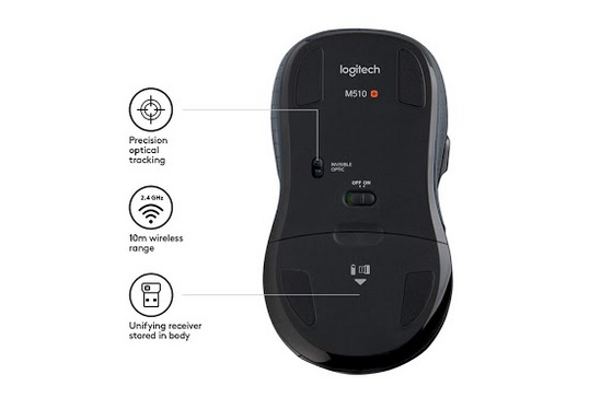 Miška Logitech M510 wireless, Unifying, siva